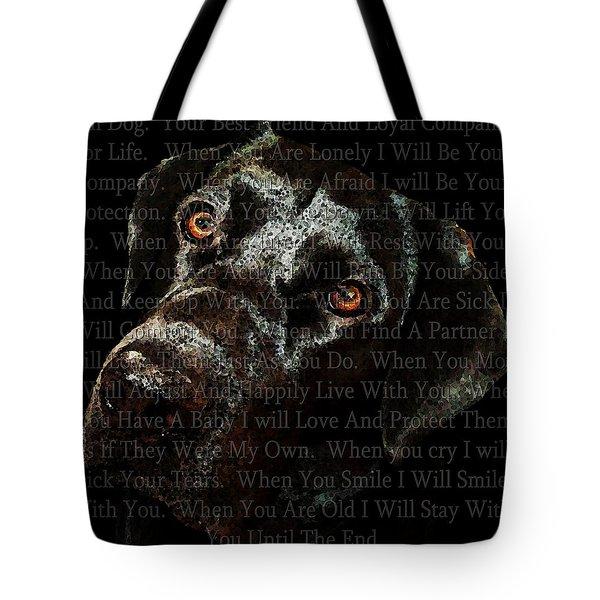 Black Labrador Retriever Dog Art - I Am Dog Tote Bag by Sharon Cummings