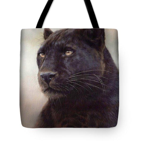 Black Leopard Painting Tote Bag by Rachel Stribbling