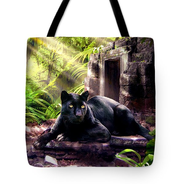 Black Panther Custodian Of Ancient Temple Ruins  Tote Bag by Gina Femrite