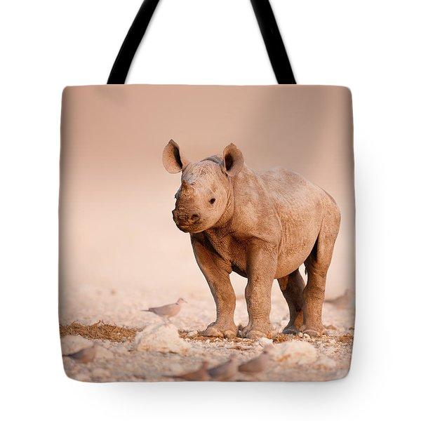 Black Rhinoceros baby Tote Bag by Johan Swanepoel
