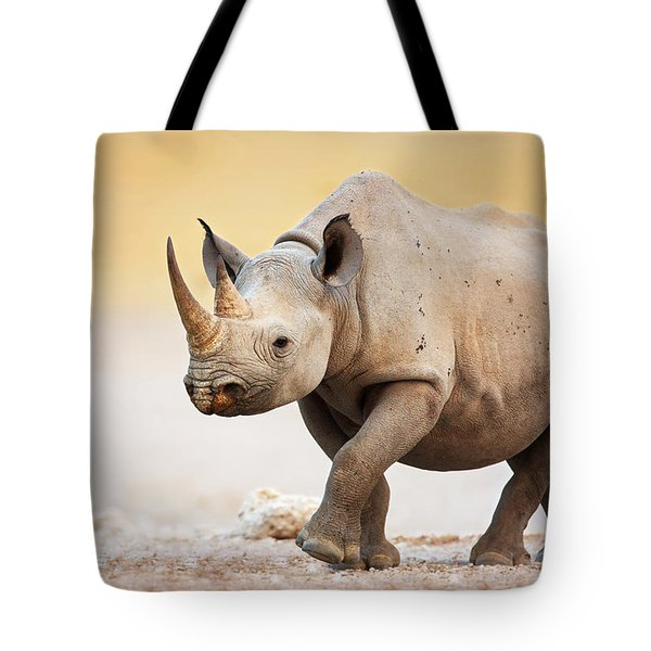 Black Rhinoceros Tote Bag by Johan Swanepoel