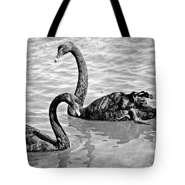 Black Swans - Black And White Textures Tote Bag by Carol Groenen