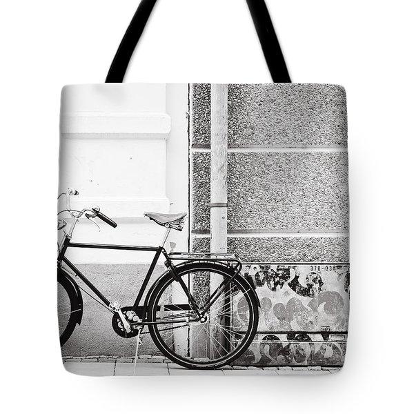 Black Vintage Bicycle Tote Bag by Jimmy Karlsson