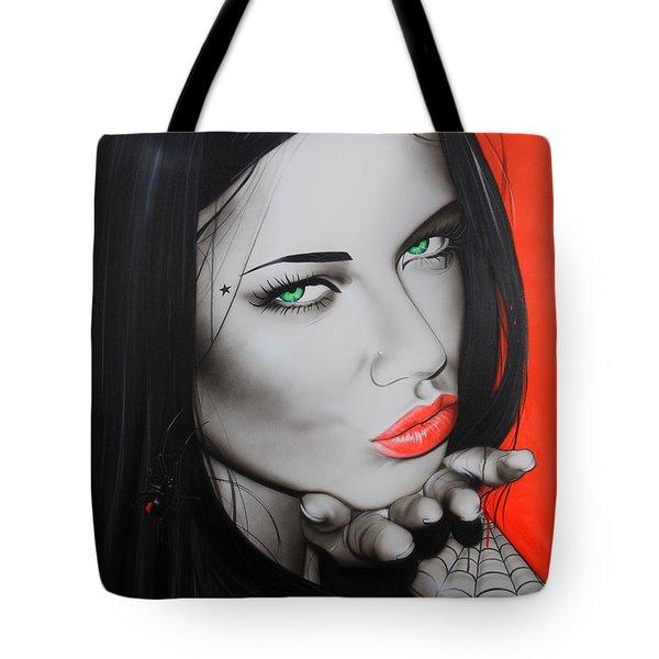 'Black Widow' Tote Bag by Christian Chapman Art