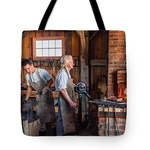Blacksmith and Apprentice 2 Tote Bag by Steve Harrington