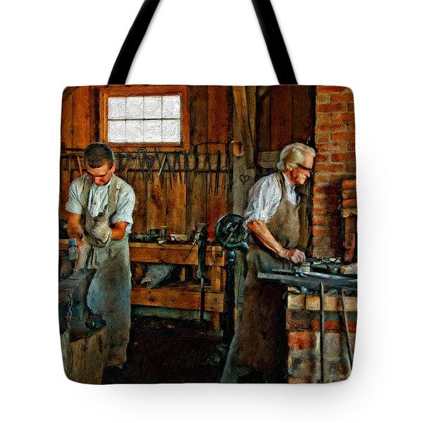Blacksmith And Apprentice Impasto Tote Bag by Steve Harrington