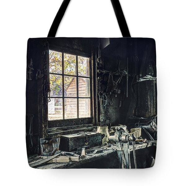 Blacksmiths Workbench - One October Afternoon Tote Bag by Gary Heller