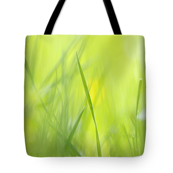 Blades Of Grass - Green Spring Meadow - Abstract Soft Blurred Tote Bag by Matthias Hauser