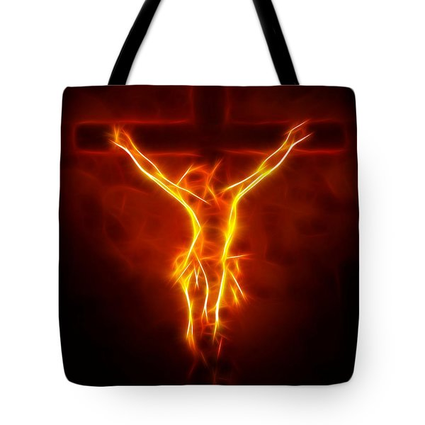 Blazing Jesus Crucifixion Tote Bag by Pamela Johnson
