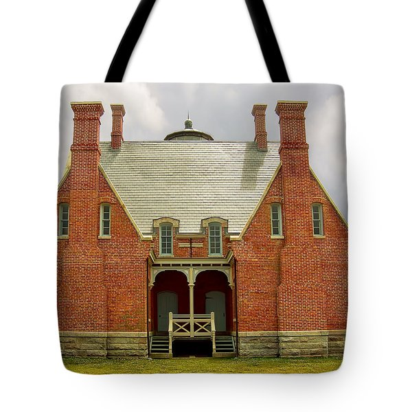 Block Island Southeast Light -Back View Tote Bag by Lourry Legarde