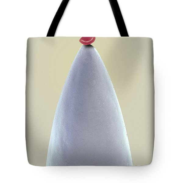 Blood Cell On Needle Sem Tote Bag by Steve Gschmeissner and SPL and Science Source