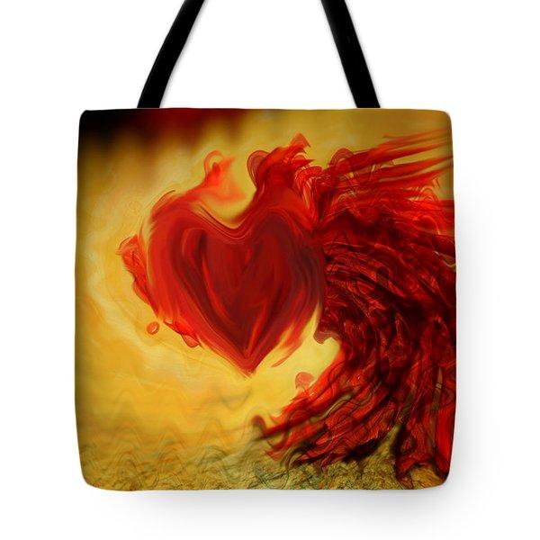 Blood Red Heart Tote Bag by Linda Sannuti