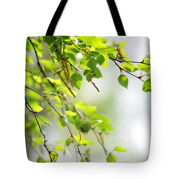 Blooming Birch Tree At Spring Tote Bag by Jenny Rainbow