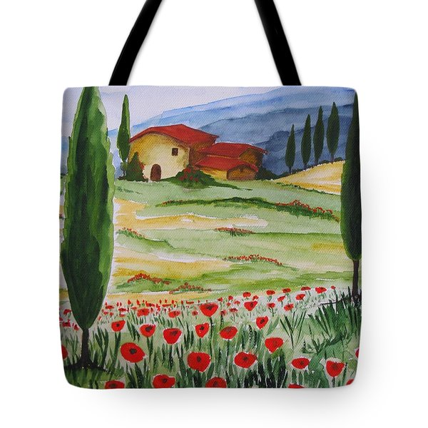 Blooming Poppy In Tuscany Tote Bag by Christine Huwer