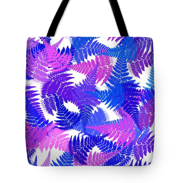 Blue Abstract Fern Leaf Pattern Art Tote Bag by Christina Rollo