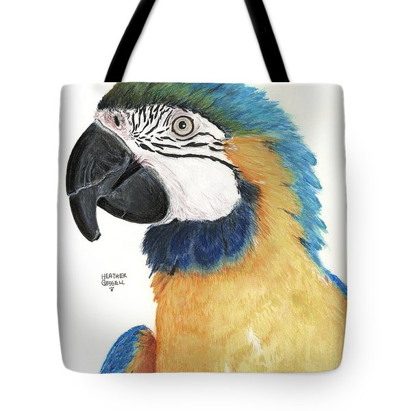 Blue And Gold Macaw Tote Bag by Heather Gessell