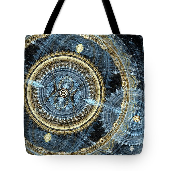 Blue And Gold Mechanical Abstract Tote Bag by Martin Capek
