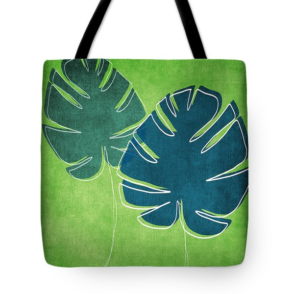 Blue and Green Palm Leaves Tote Bag by Linda Woods