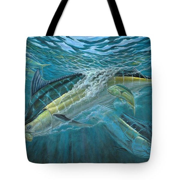 Blue And Mahi Mahi Underwater Tote Bag by Terry Fox