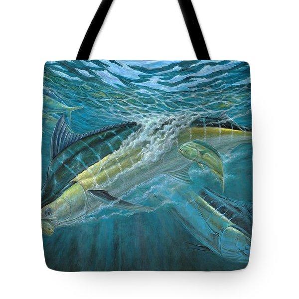 Blue And Mahi Mahi Underwater Tote Bag by Terry Fox