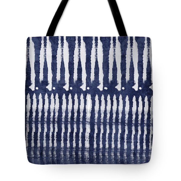 Blue And White Shibori Design Tote Bag by Linda Woods