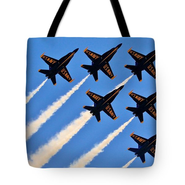 Blue Angels Overhead Tote Bag by Benjamin Yeager