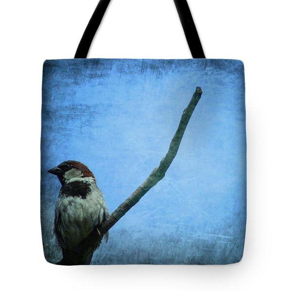 Sparrow On Blue Tote Bag by Dan Sproul