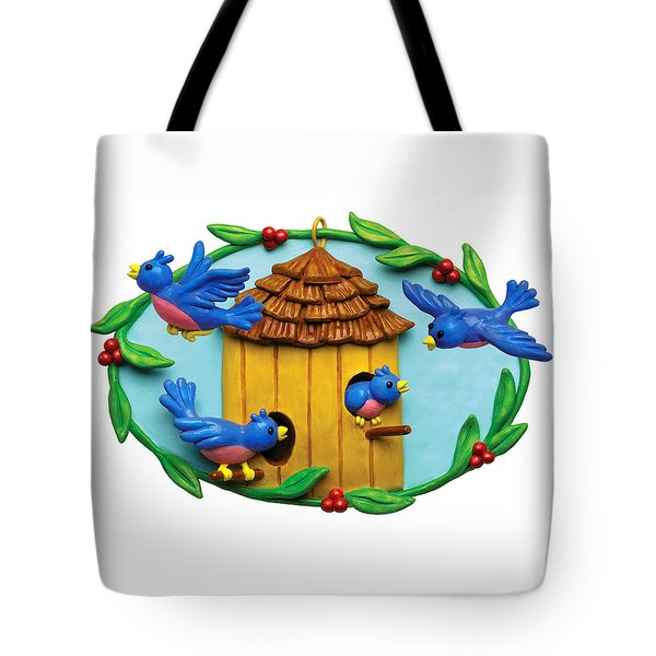 Blue Birds fly Home Tote Bag by Amy Vangsgard