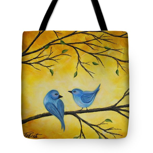 Blue Birds Tote Bag by Molly Roberts