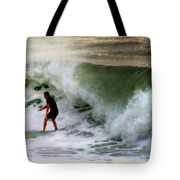 Blue Board Tote Bag by Karen Wiles