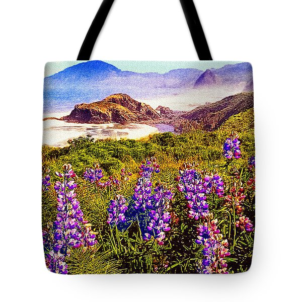 Blue Bonnets On Oregon Coastline Tote Bag by Bob and Nadine Johnston