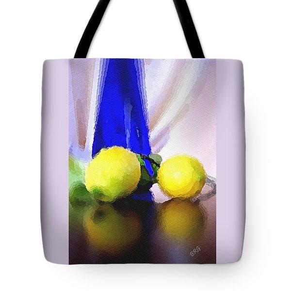 Blue Bottle And Lemons Tote Bag by Ben and Raisa Gertsberg