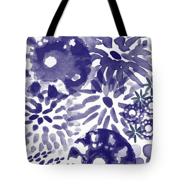 Blue Bouquet- Contemporary Abstract Floral Art Tote Bag by Linda Woods