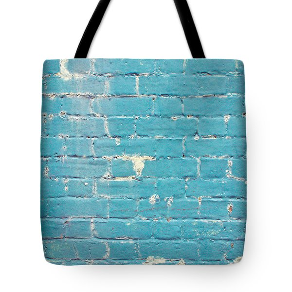 Blue Brick Wall Tote Bag by Tom Gowanlock
