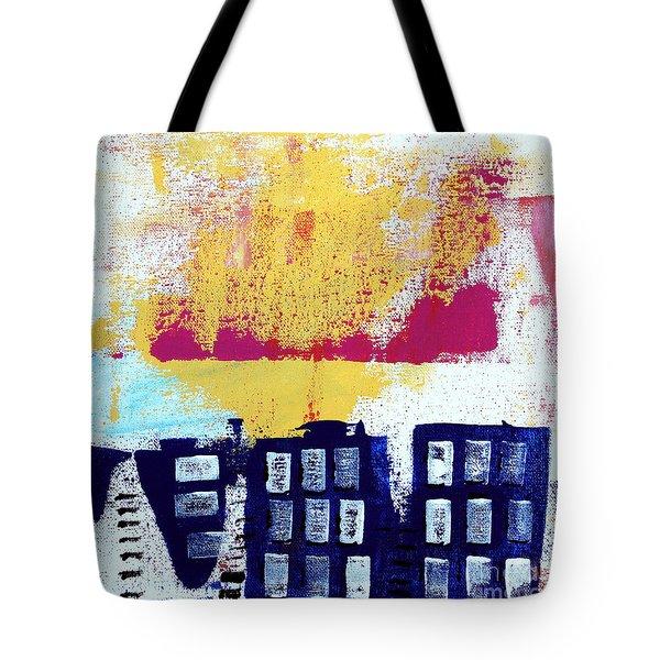 Blue Buildings Tote Bag by Linda Woods