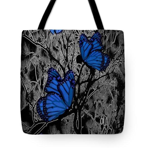 Blue Butterflies Tote Bag by Barbara St Jean