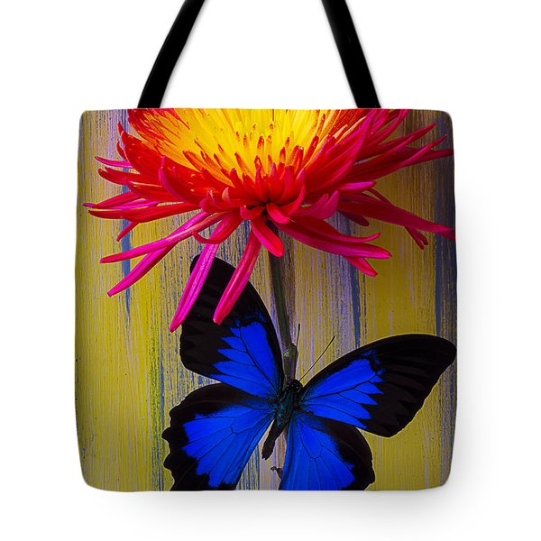 Blue Butterfly On Fire Mum Tote Bag by Garry Gay