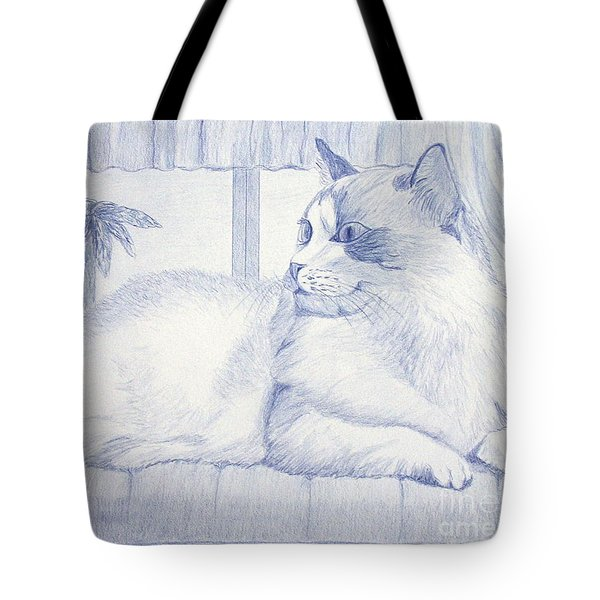 Blue Cat Tote Bag by Cybele Chaves