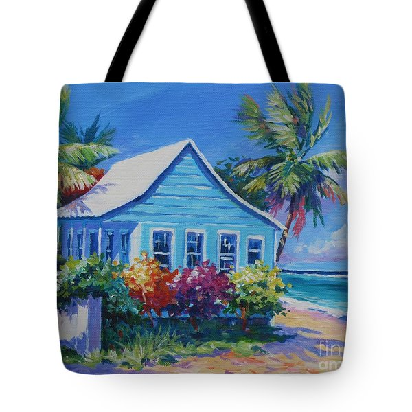 Blue Cottage On The Beach Tote Bag by John Clark