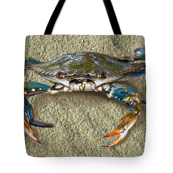 Blue Crab Confrontation Tote Bag by Sandi OReilly
