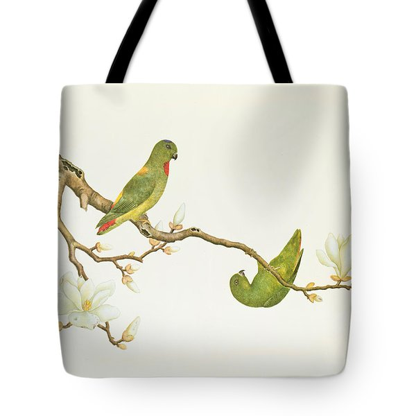 Blue Crowned Parakeet Hannging On A Magnolia Branch Tote Bag by Chinese School