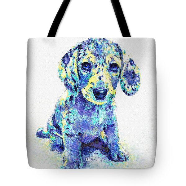 Blue Dapple Dachshund Puppy Tote Bag by Jane Schnetlage