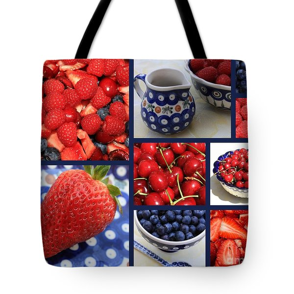 Blue Dishes And Fruit Collage Tote Bag by Carol Groenen