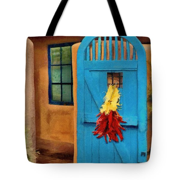 Blue Door And Peppers Tote Bag by Jeff Kolker
