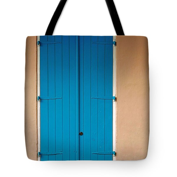 Blue Door In New Orleans Tote Bag by Christine Till