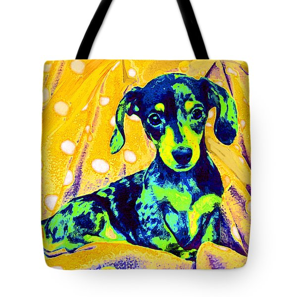 Blue Doxie Tote Bag by Jane Schnetlage