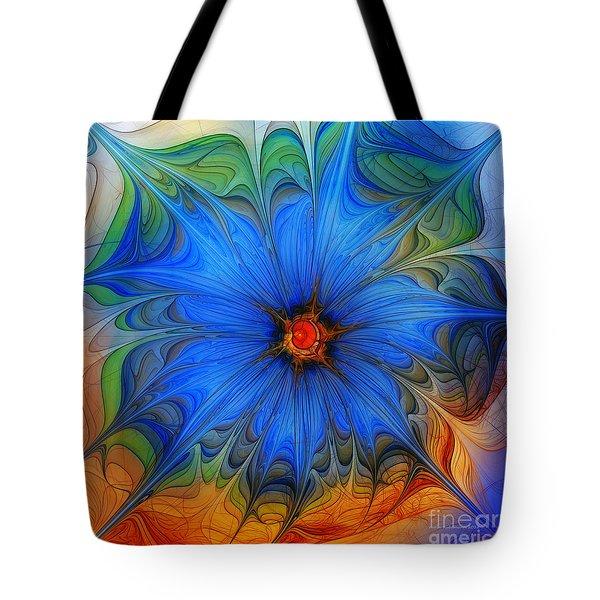 Blue Flower Dressed For Summer Tote Bag by Karin Kuhlmann