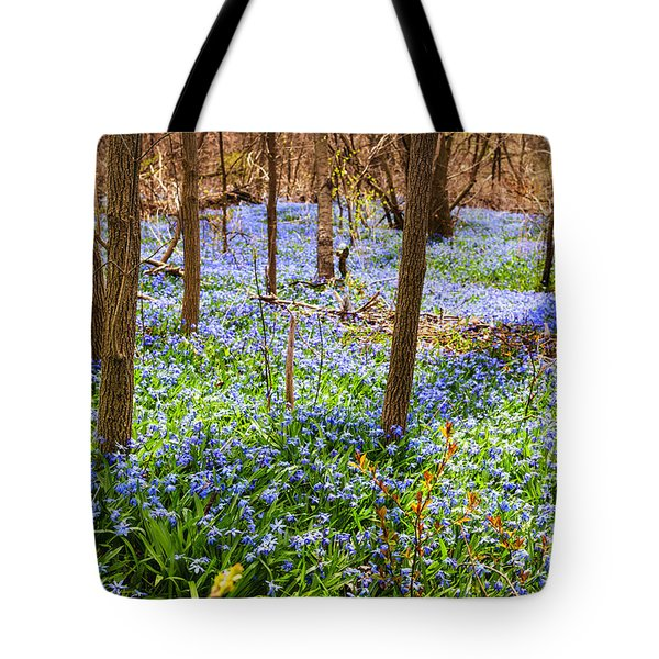 Blue flowers in spring forest Tote Bag by Elena Elisseeva