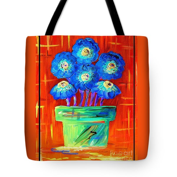 Blue Flowers On Orange Tote Bag by Eloise Schneider