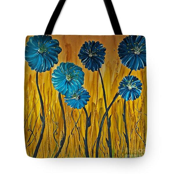 Blue Flowers Tote Bag by Ryan Burton